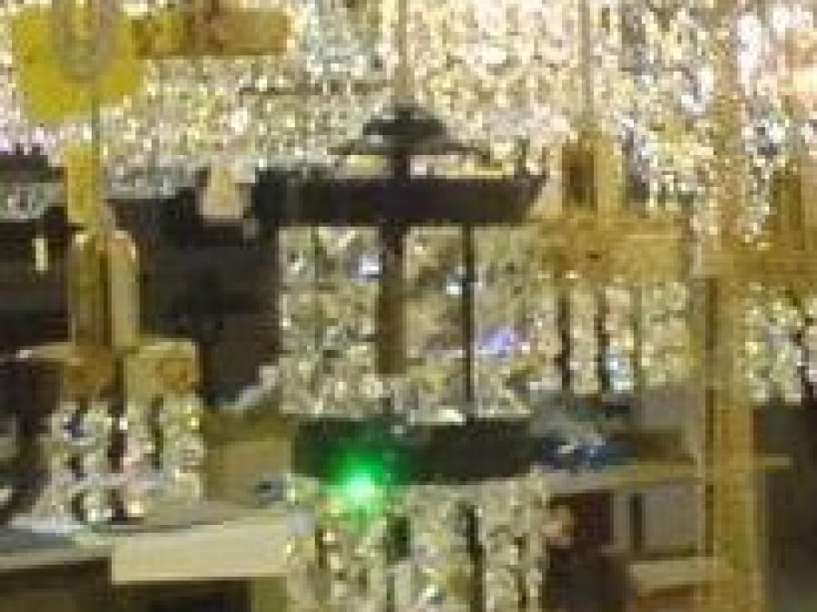 Chrystal chandeliers.