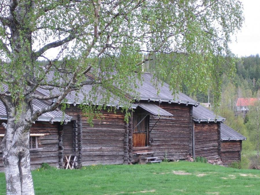 The farm's timber buildings.