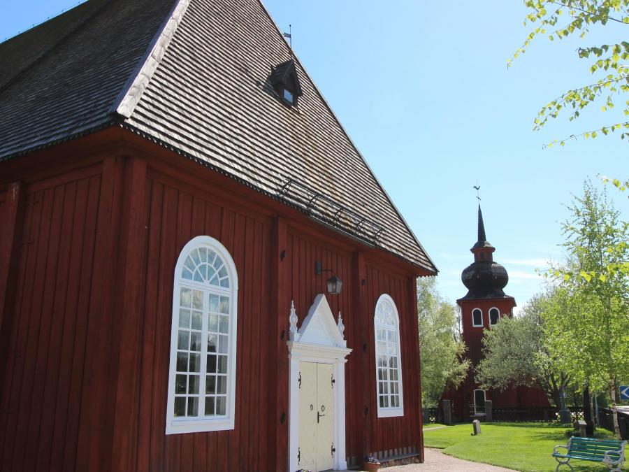Red wooden church.