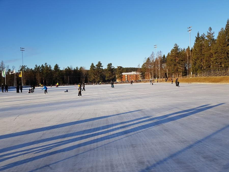 Children playing in the outdoor ice rink.