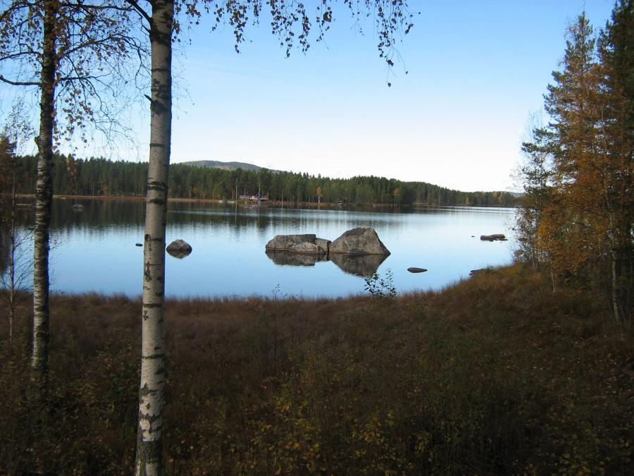 Lake with large rocks.